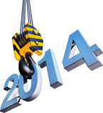 Crane with 2014 icon. 3D illustration of a crane with 2014 icon Royalty Free Stock Images