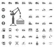 Crane Icon Gesetzte Ikonen des Transportes und der Logistik Gesetzte Ikonen des Transportes Lizenzfreie Stockfotos