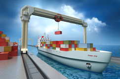 Crane il contenitore di carico di sollevamento ed il carico della nave Immagine Stock