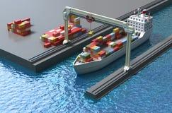Crane il contenitore di carico di sollevamento ed il carico della nave Immagini Stock