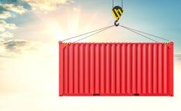 Crane il contenitore di carico e del gancio sul fondo del cielo Immagine Stock