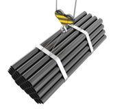 Crane il sollevamento del gancio dei tubi d'acciaio su un bianco Fotografia Stock