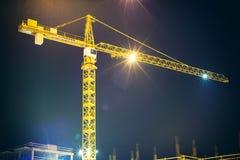 Crane and illumination at night Stock Photography