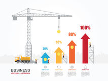 Crane and increasing graph. Infographic Template. Vector Illustration Stock Photos