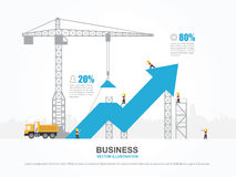 Crane and increasing graph. Infographic Template. Vector Illustration Stock Images