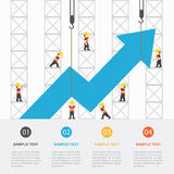 Crane and increasing graph. Royalty Free Stock Photography