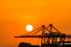 Crane in the industrial port Stock Photography