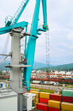 Crane in industrial port Stock Images