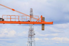 Crane industry selective focus construction buildings site city Royalty Free Stock Photography
