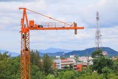 Crane industry selective focus construction buildings site city Stock Photos