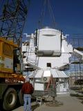 Crane installing observatory base Stock Image