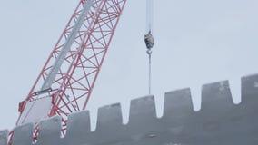 Crane Jib in Winter in Sky Background stock video