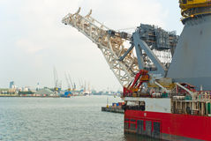 The crane of the lift ship in the Port of Rotterdam Royalty Free Stock Images