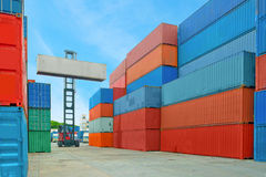 Crane lifter handling container box loading to truck. In import export logistic zone royalty free stock photography