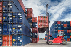 Crane lifter handling container box Royalty Free Stock Photos