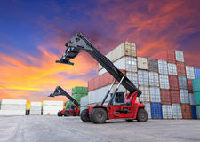 Crane Lifting At Container Yard Stock Images