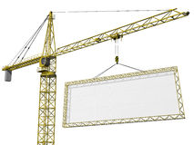 Crane lifting blank sign. Crane lifting a huge blank sign with space for your text Royalty Free Stock Image