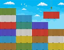 Crane lifting cargo container from large stack Stock Photography