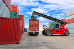 Crane lifting at container yard Royalty Free Stock Images