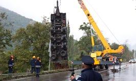 Crane lifting crashed truck Stock Image