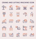Crane lifting icon. Crane and lifting machine icon set, color and outline royalty free illustration