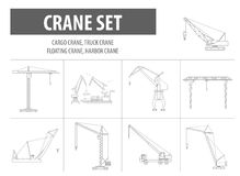 Crane and lifting machine. Outline icon set suitable. For creating infographics. web site content etc. Vector illustration vector illustration