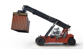 Crane lifting up container. Isolate on white Stock Images