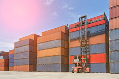 Crane lifting up container. Royalty Free Stock Photography