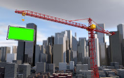 Crane lifts the billboard. city landscape Royalty Free Stock Image