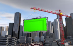 Crane lifts the billboard. city landscape Stock Image
