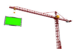 Crane lifts the billboard. Isolate on white background Royalty Free Stock Image