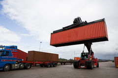Crane lifts a container. Industrial Crane lifts a container Royalty Free Stock Photography