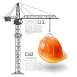 Crane lifts the helmet Royalty Free Stock Images