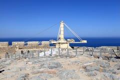 Crane at Lindos Acropolis Royalty Free Stock Photo