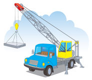 A crane with a load. A crane with a floor slab Vector Illustration