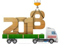 Crane loads New Year 2018 of wood Royalty Free Stock Images