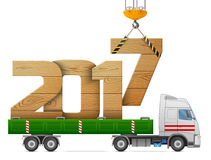 Crane loads New Year 2017 of wood. Big wooden year number in back of truck. Vector illustration for new years day, christmas, transportation, winter holiday, new vector illustration