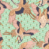 Crane long life evergreen seamless pattern