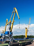Crane makes loading cargo Stock Photo