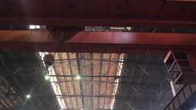 Crane on manufacture. Crane works on manufacture of the trains stock video footage