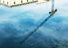 Crane is mirroring in water Stock Photos