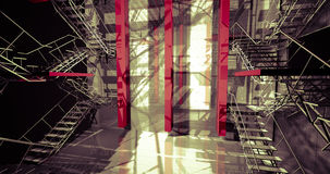 Crane. Modern industrial interior, stairs, clean space in indust Royalty Free Stock Image