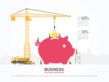 Crane and money building. Royalty Free Stock Images