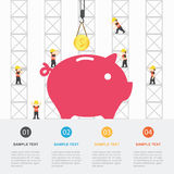 Crane and money building. Royalty Free Stock Photo