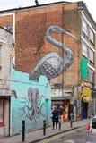 Crane Mural door Roa royalty-vrije stock foto