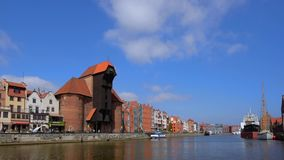 The Crane in Gdansk, Poland. Crane at the National Maritime Museum, the crance was once the biggest port crane in medieval Europe, Old Town, Gdansk, Poland stock video