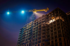 Crane at night Royalty Free Stock Image
