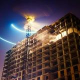 Crane at night Stock Photo