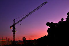 Crane after night fall. The Crane after night fall Royalty Free Stock Image