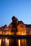 The Crane at Night in Gdansk Royalty Free Stock Images